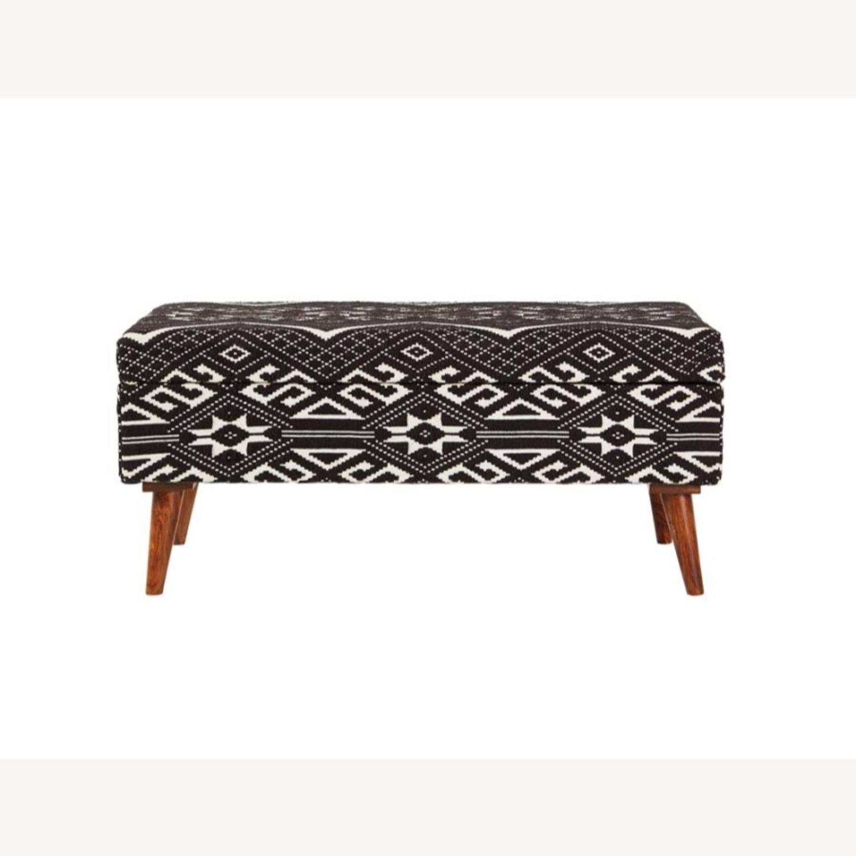 Bench In Black & White Woven Cotton Tribal Motif - image-1