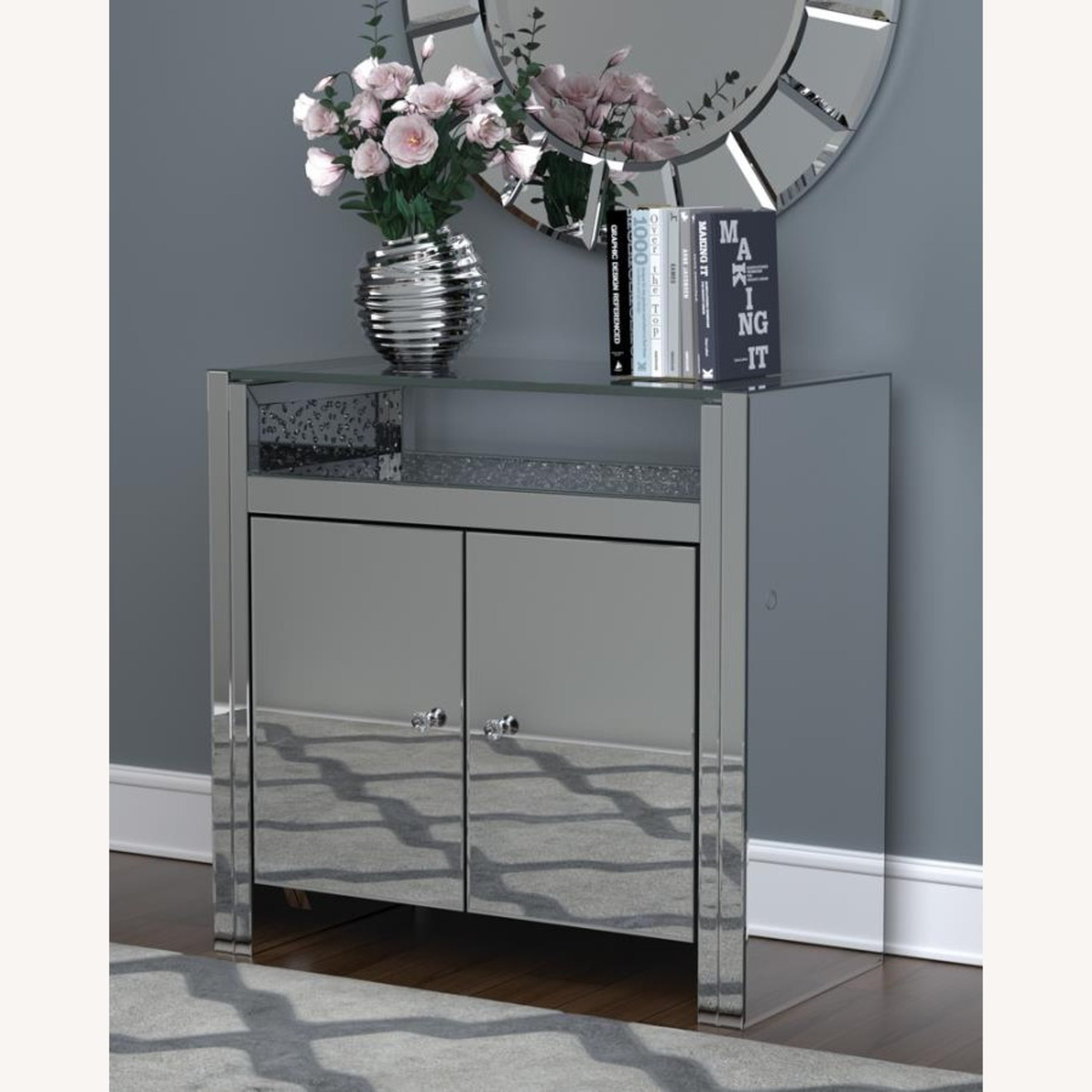 Cabinet In Silver & Clear Mirror Finish - image-6