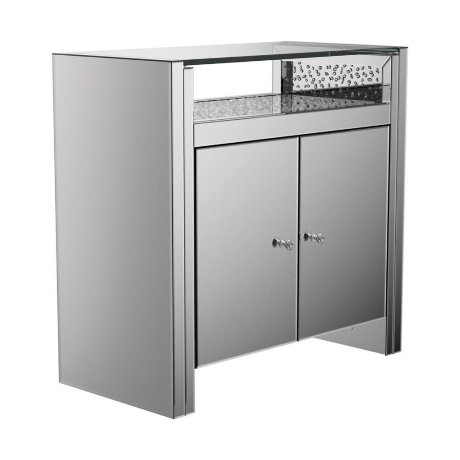 Cabinet In Silver & Clear Mirror Finish - image-0