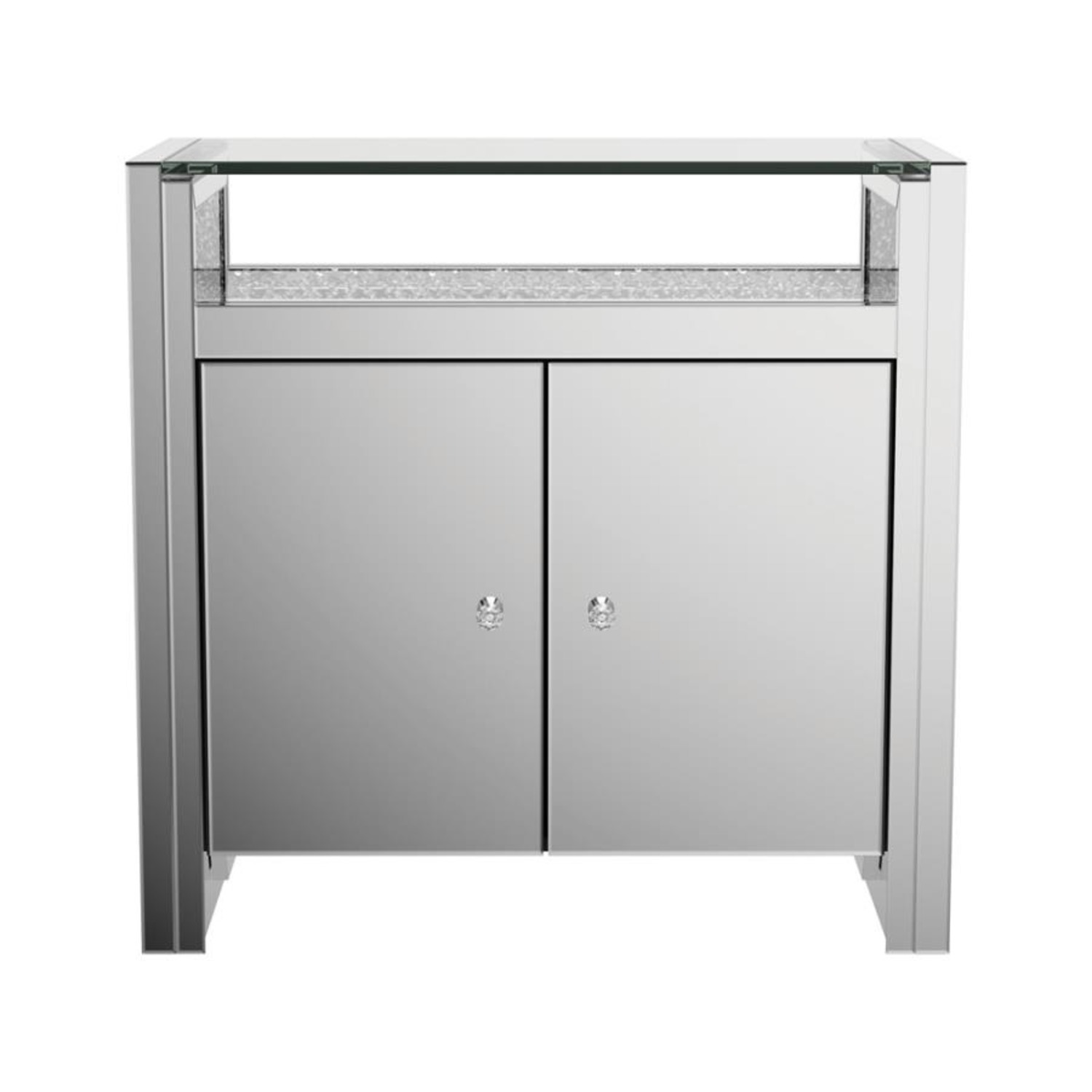 Cabinet In Silver & Clear Mirror Finish - image-1