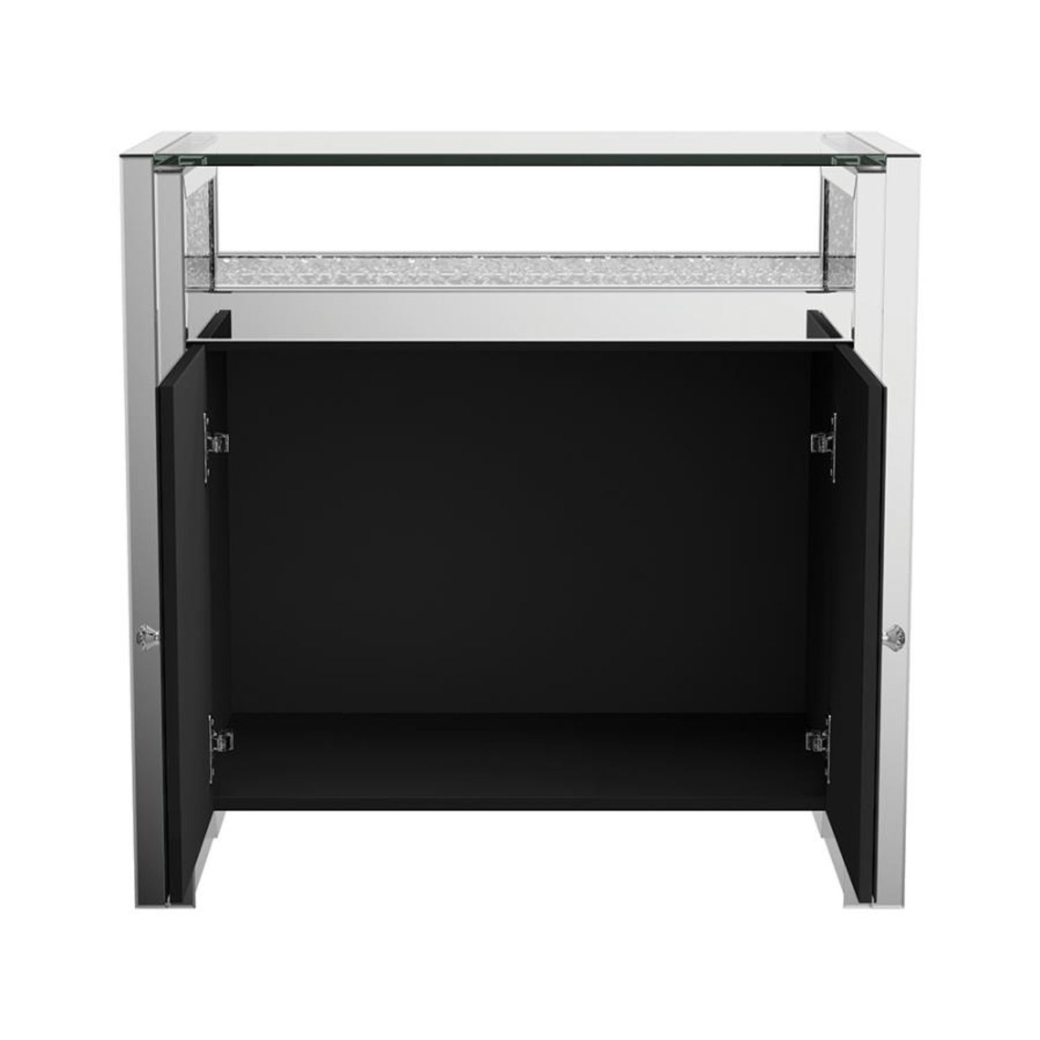 Cabinet In Silver & Clear Mirror Finish - image-5