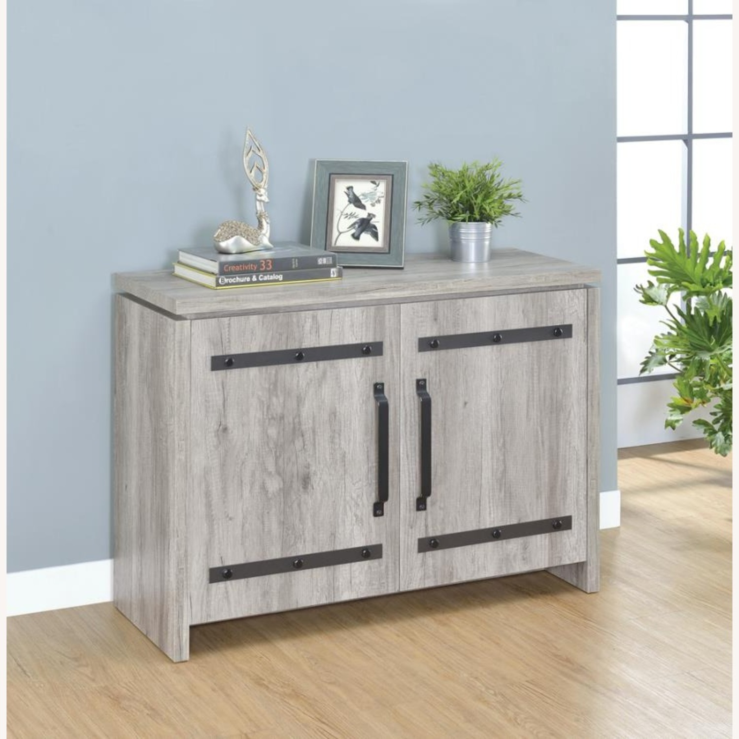 Accent Cabinet In Grey Driftwood W/ Rustic Metals - image-5