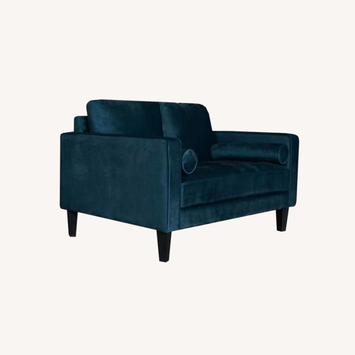 Loveseat In Dark Teal Finish W/ Tall Tapered Legs - image-4