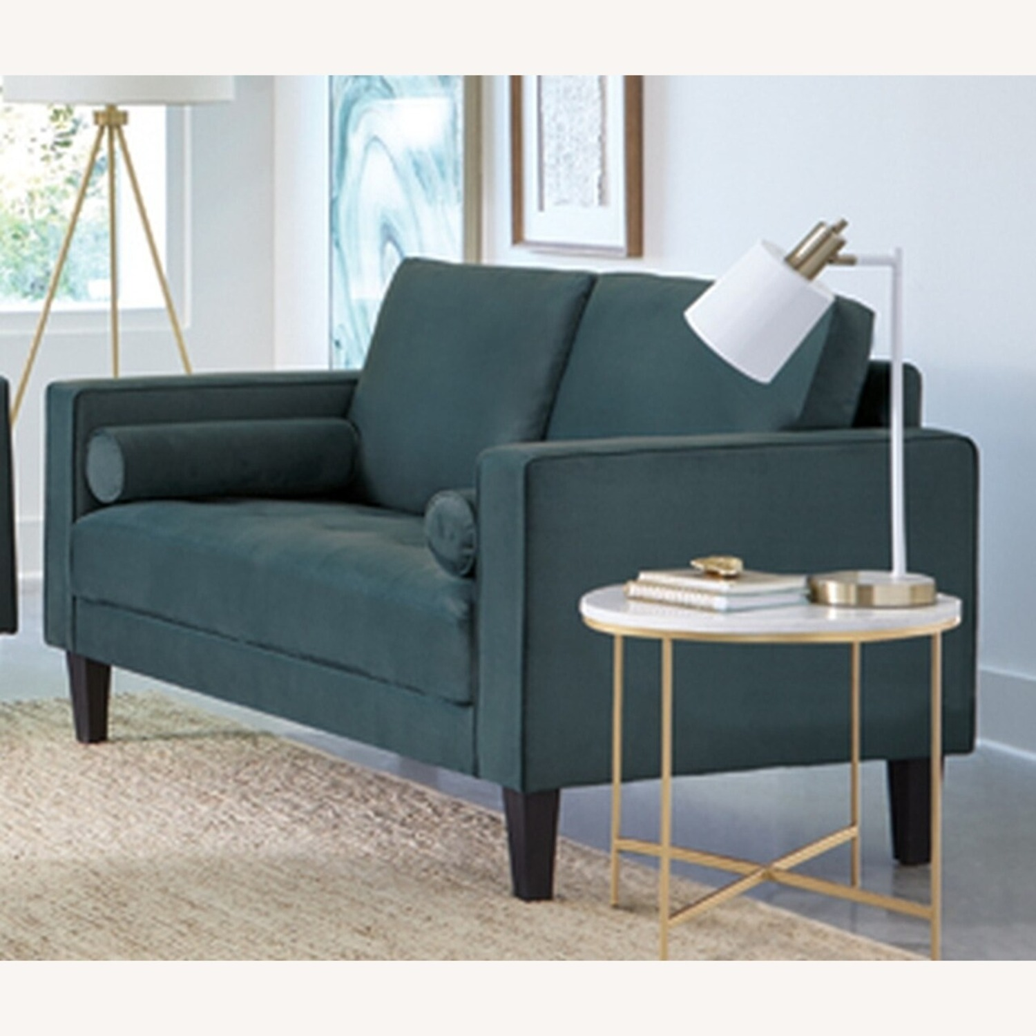 Loveseat In Dark Teal Finish W/ Tall Tapered Legs - image-1