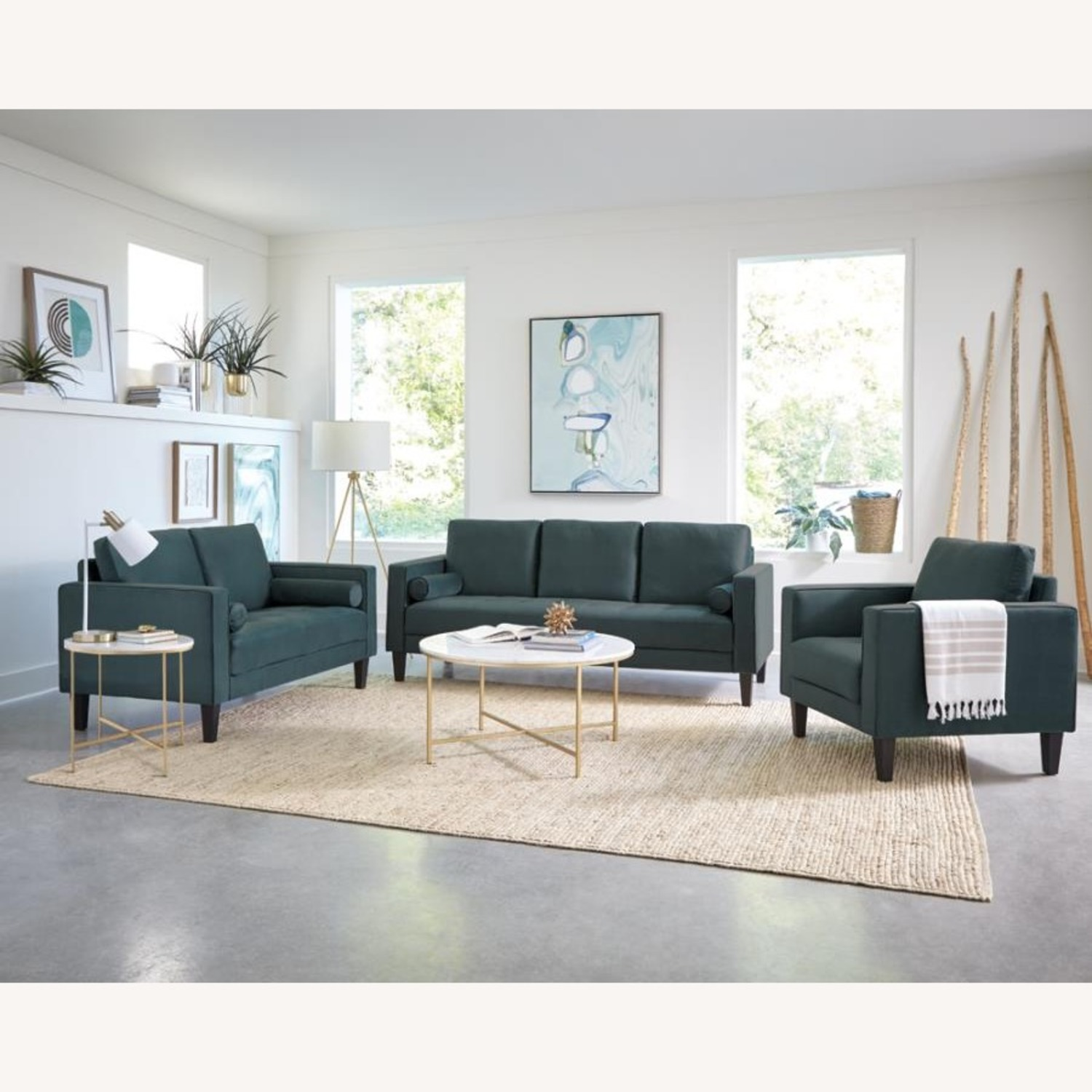 Loveseat In Dark Teal Finish W/ Tall Tapered Legs - image-2