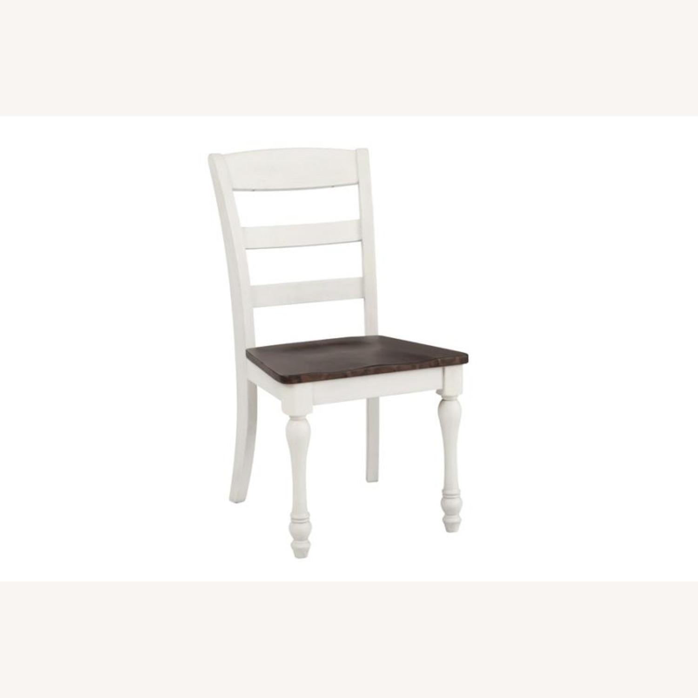 Side Chair In Dark Cocoa & Coastal White Finish - image-0