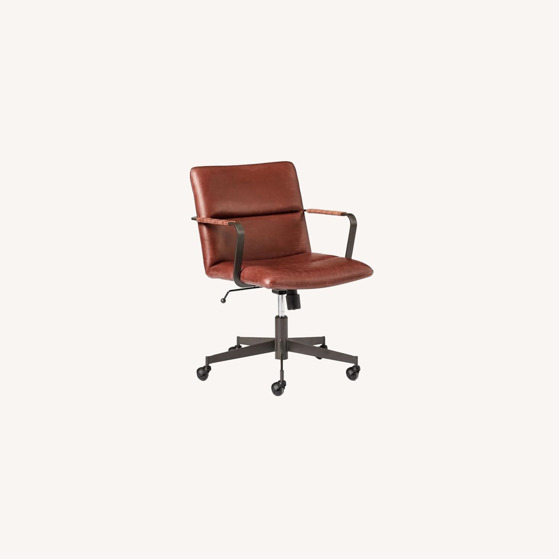 West Elm Cooper Mid-Century Office Chair, Oxblood - image-0