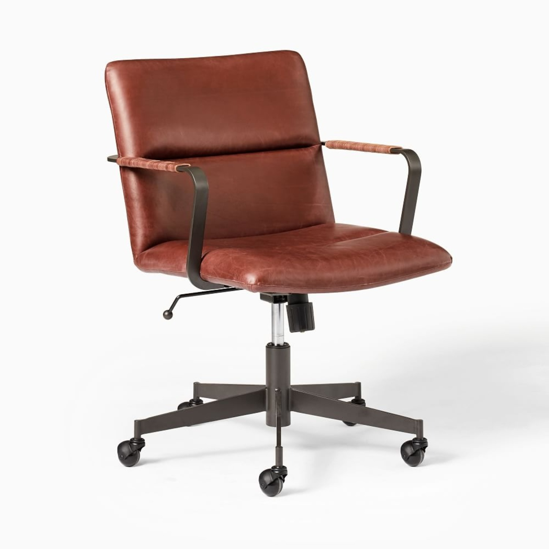 West Elm Cooper Mid-Century Office Chair, Oxblood - image-3