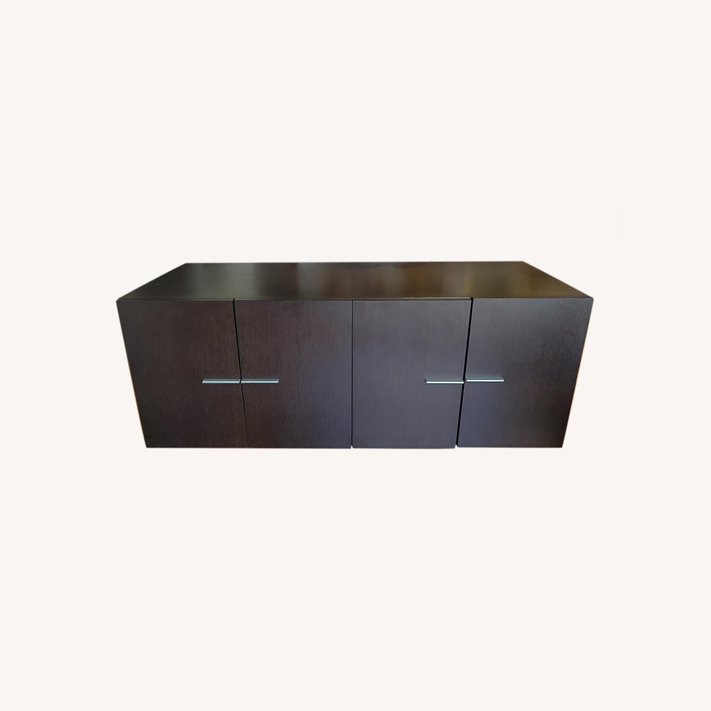 Crate & Barrel Solid Wood Storage Unit - image-0