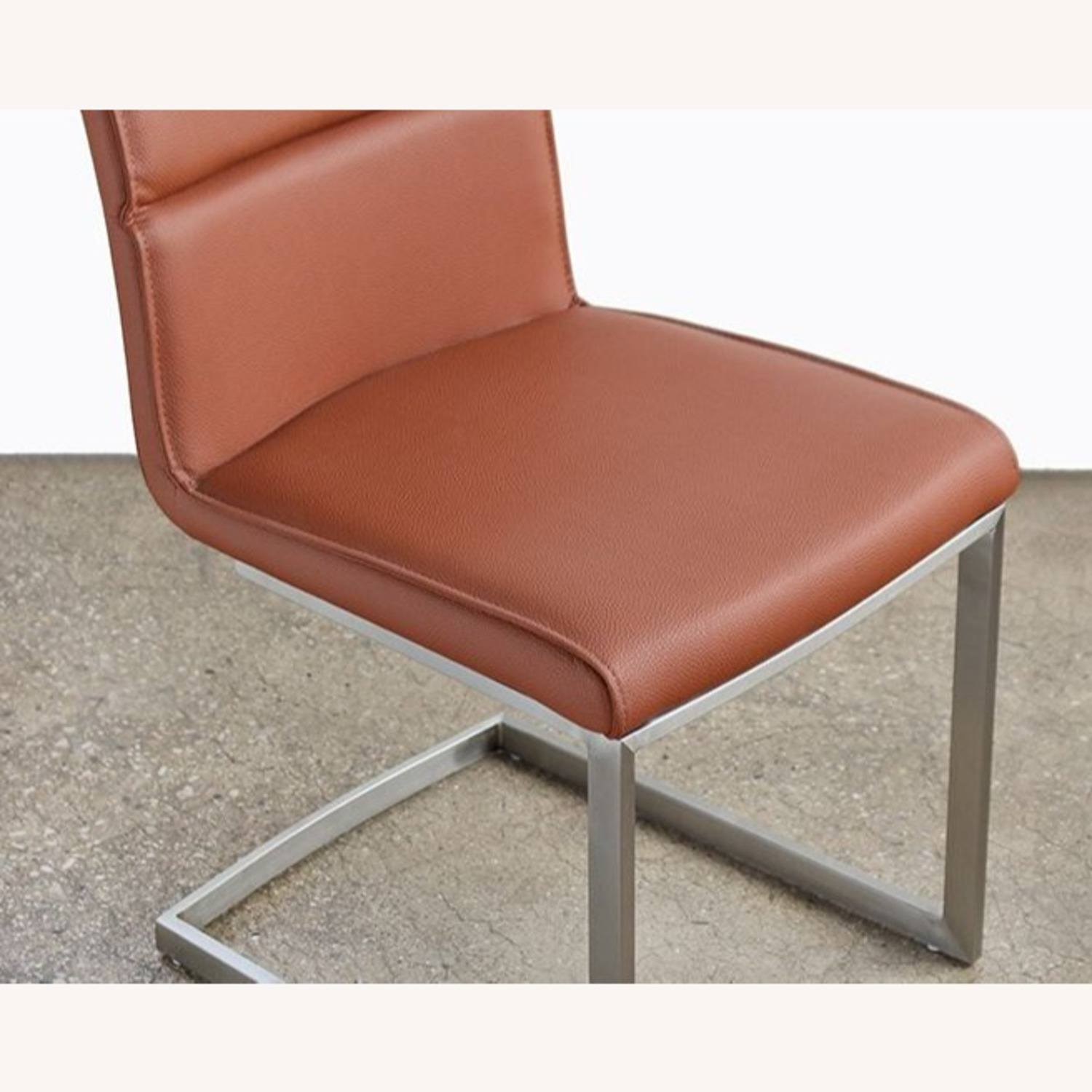 Tan Leatherette Dining Chair Stainless Steel Frame - image-2