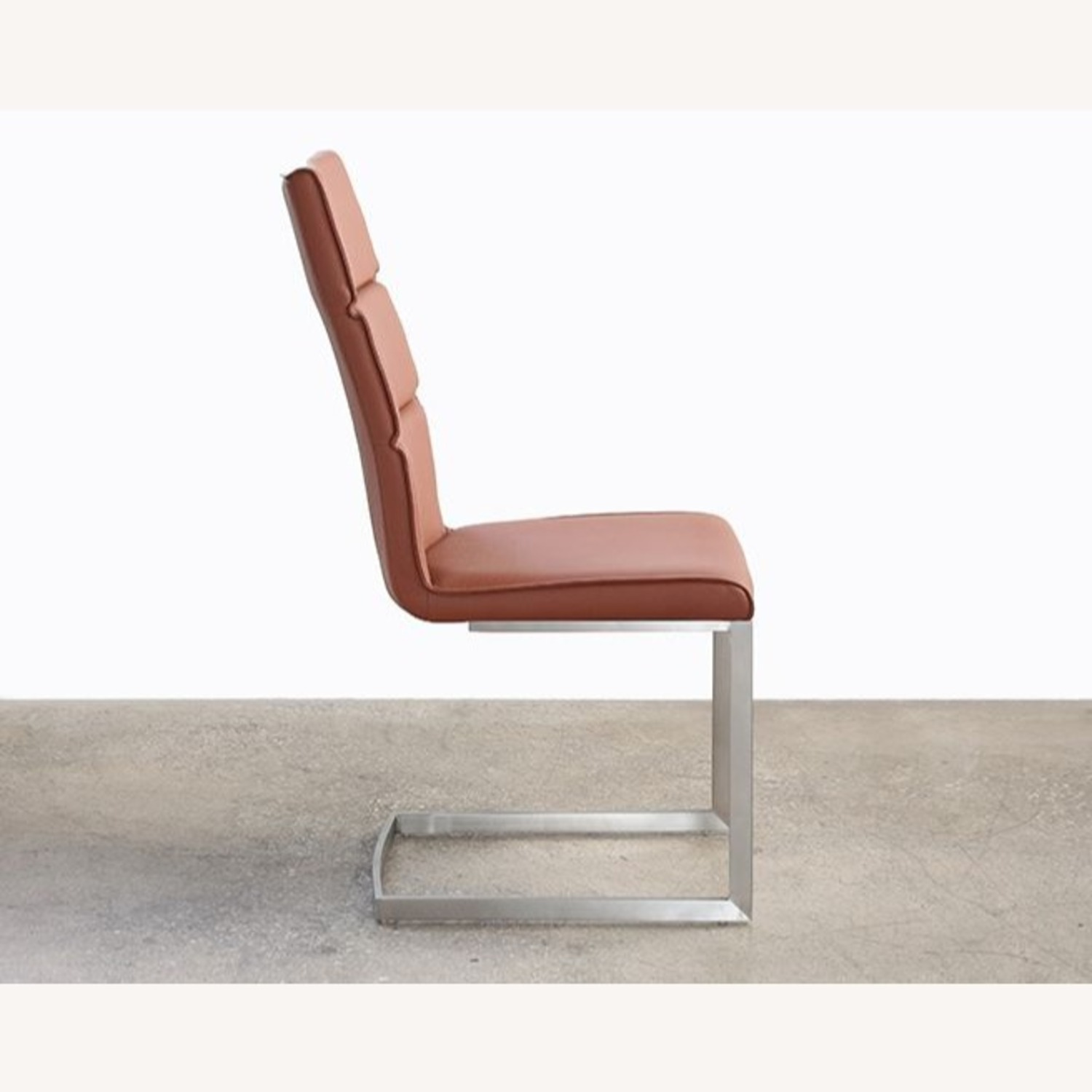 Tan Leatherette Dining Chair Stainless Steel Frame - image-1