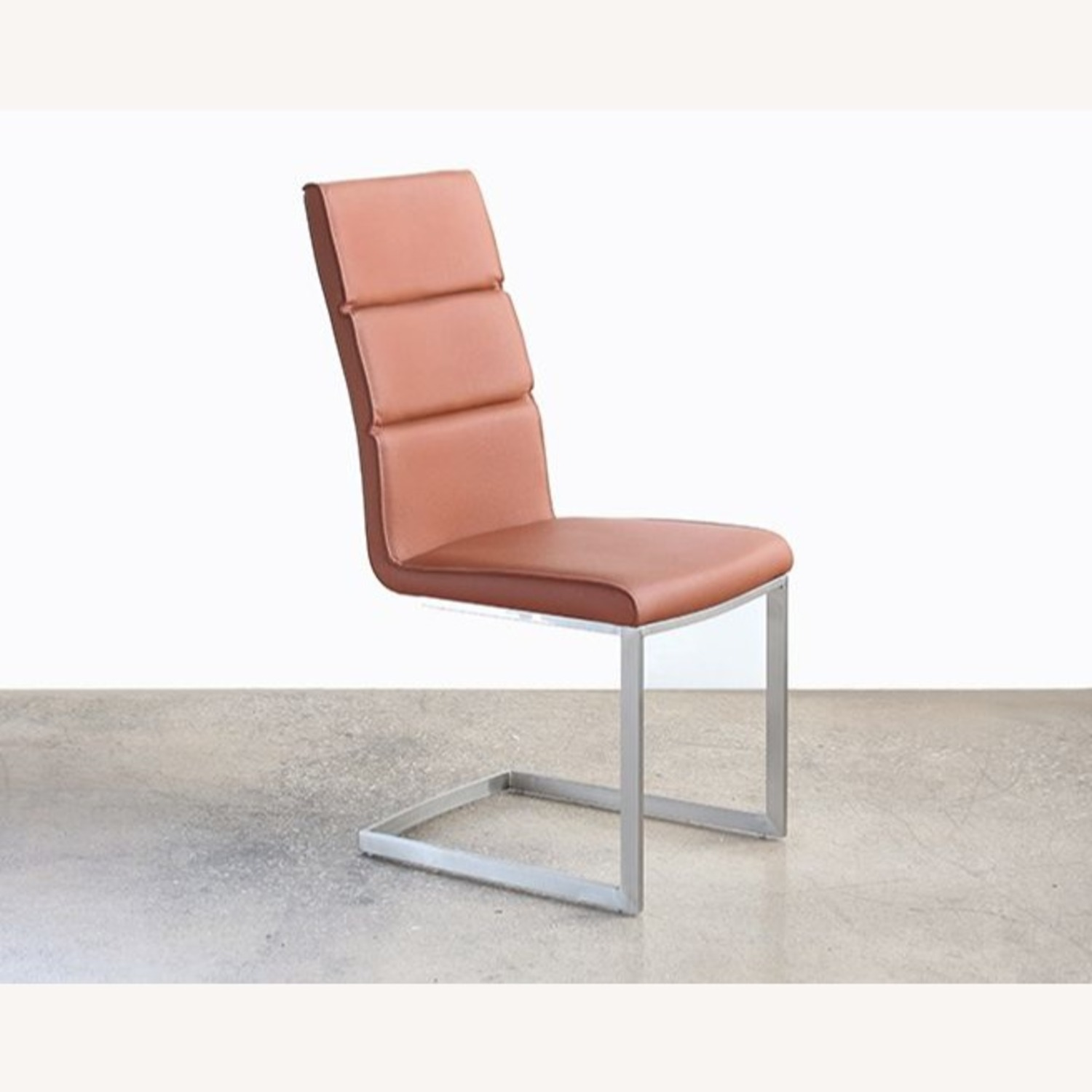 Tan Leatherette Dining Chair Stainless Steel Frame - image-0