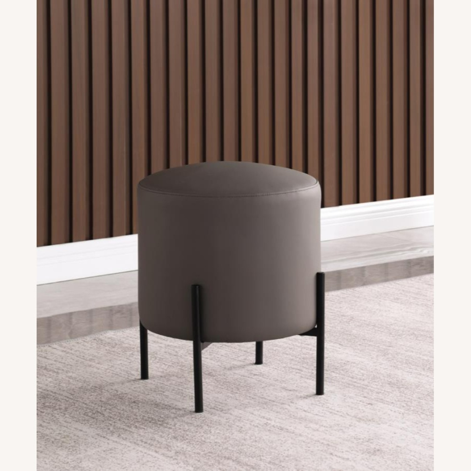 Ottoman In Light Grey & Leatherette Upholstery - image-2