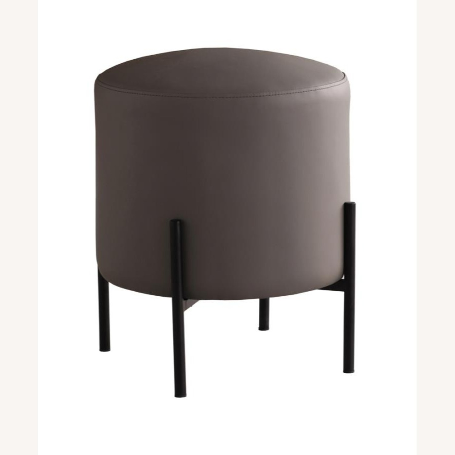 Ottoman In Light Grey & Leatherette Upholstery - image-0