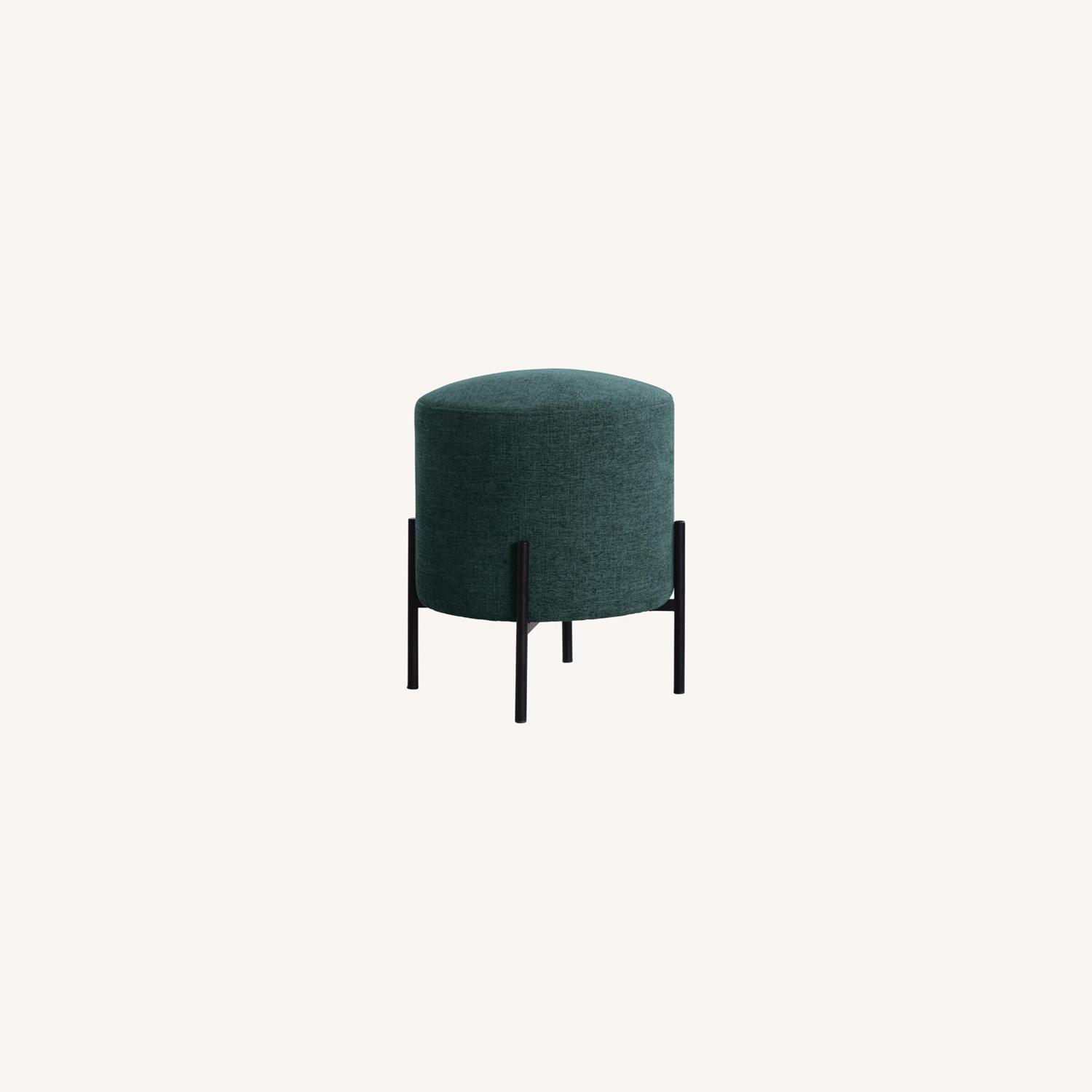 Ottoman In Teal & Chenille Upholstery W/Black Legs - image-3