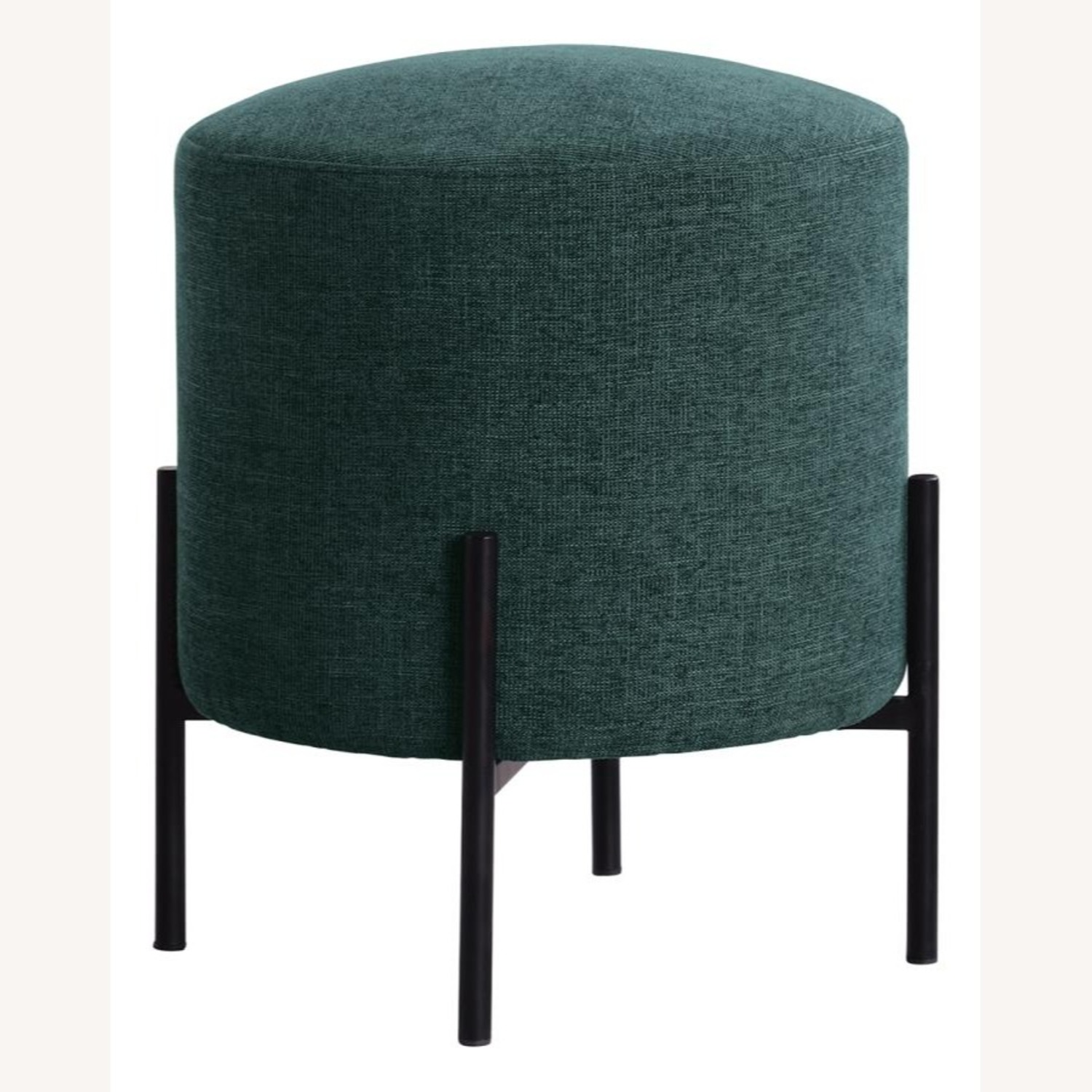 Ottoman In Teal & Chenille Upholstery W/Black Legs - image-1