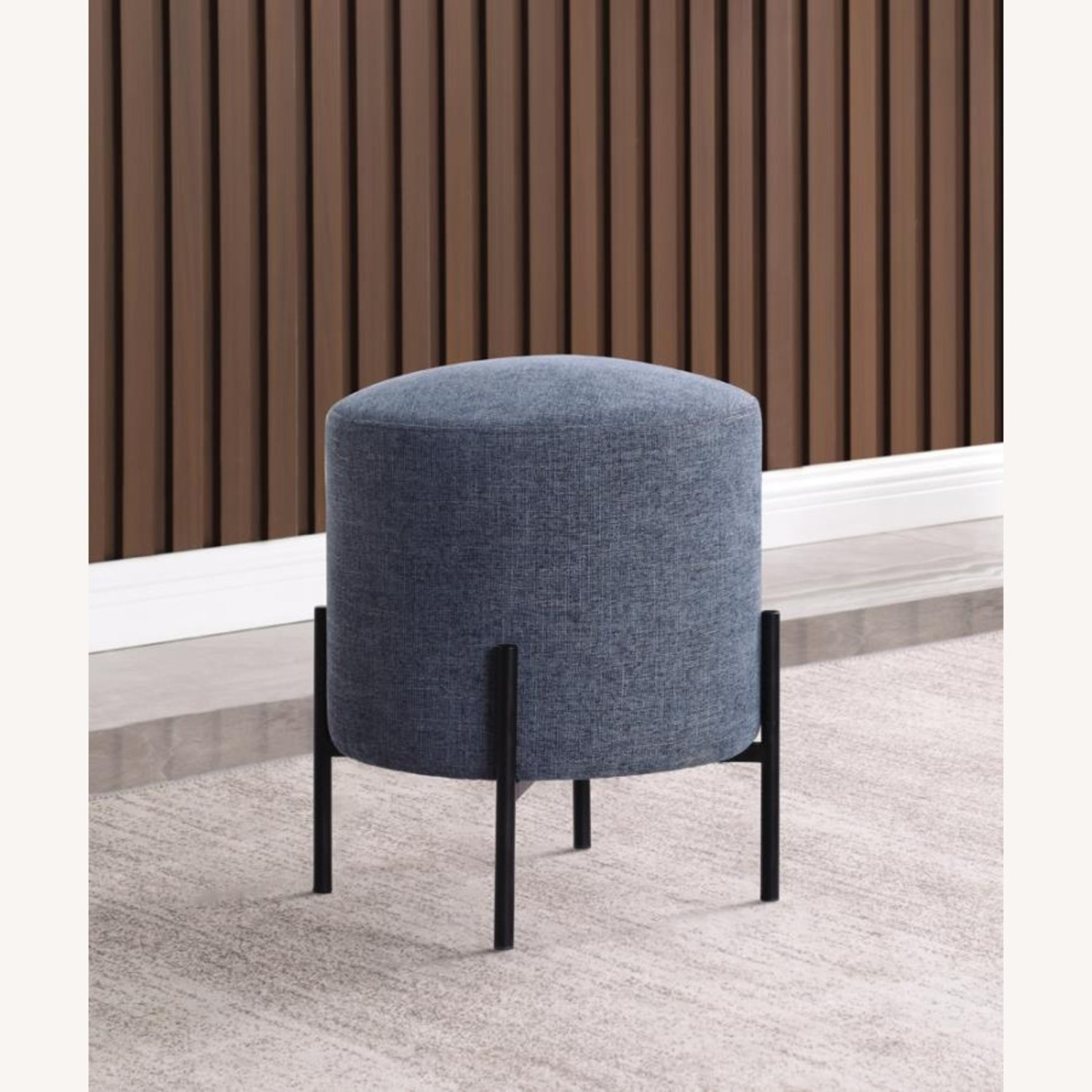 Ottoman In Teal & Chenille Upholstery W/Black Legs - image-2