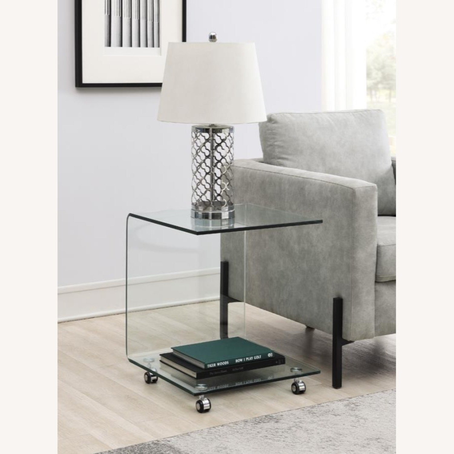 Accent Table In Clear Tempered Glass Finish - image-1