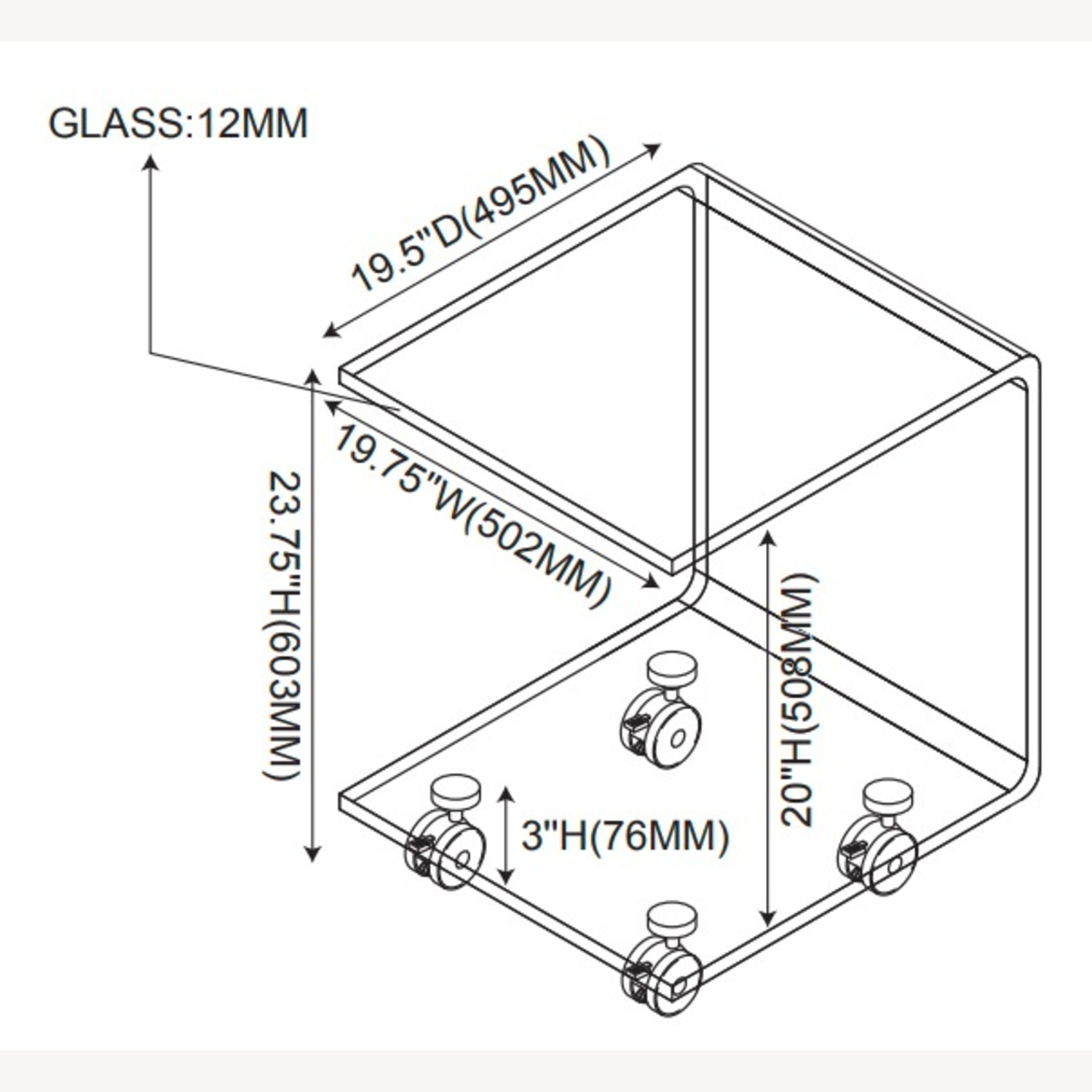 Accent Table In Clear Tempered Glass Finish - image-2