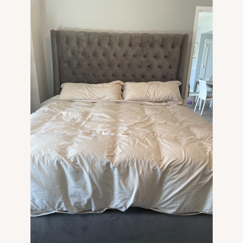 Arhaus King Tufted Nailhead Bed - image-1