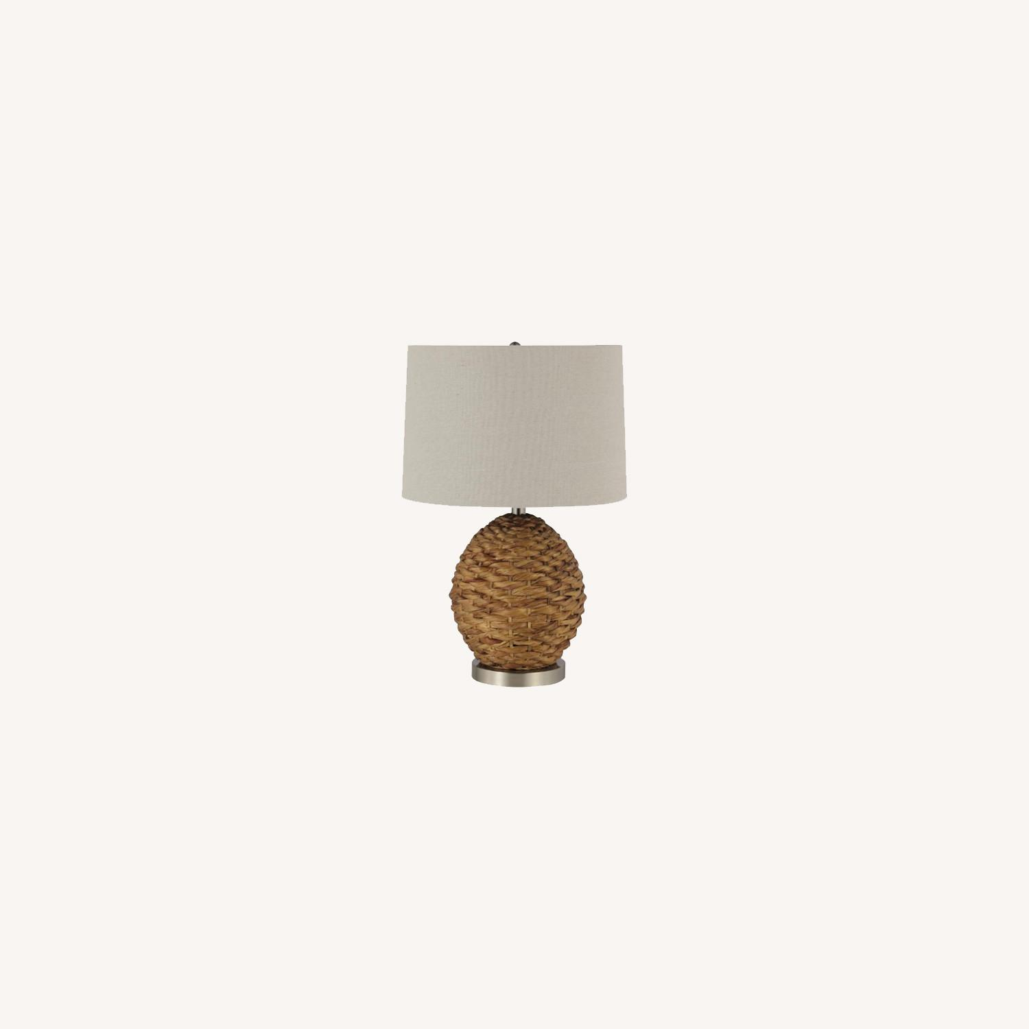 Table Lamp In Beige & Brown Rattan Weave Finish - image-4