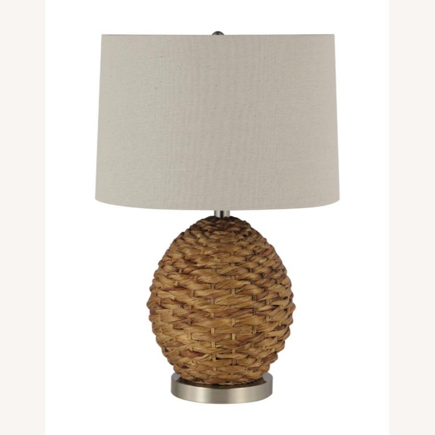 Table Lamp In Beige & Brown Rattan Weave Finish - image-0