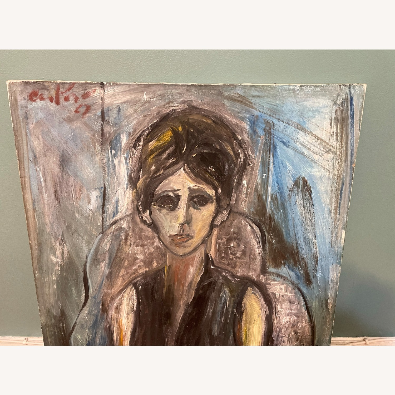 Vintage Female Portrait Painting: Blue Woman - image-5