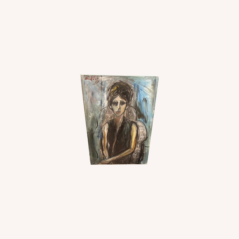 Vintage Female Portrait Painting: Blue Woman - image-0