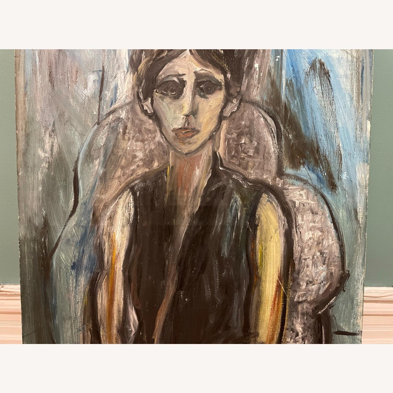 Vintage Female Portrait Painting: Blue Woman - image-2