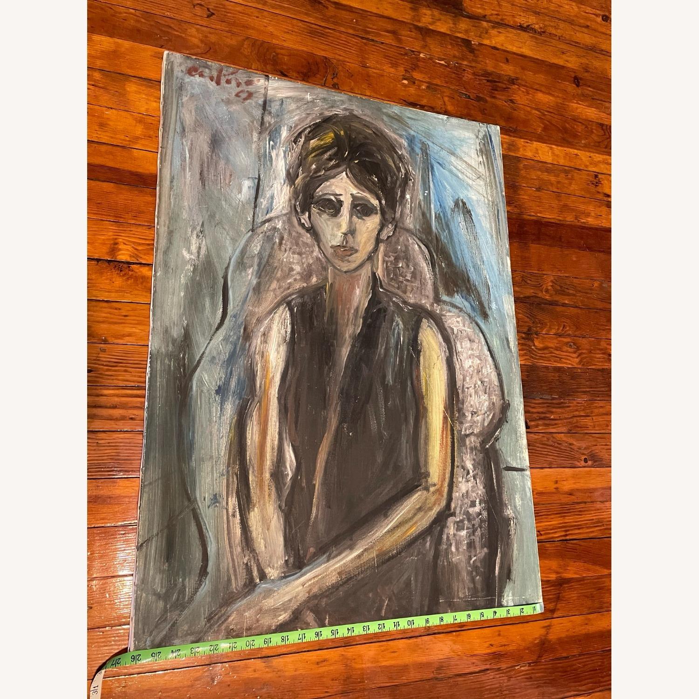 Vintage Female Portrait Painting: Blue Woman - image-10