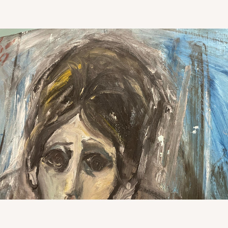 Vintage Female Portrait Painting: Blue Woman - image-4