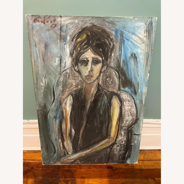 Vintage Female Portrait Painting: Blue Woman - image-1