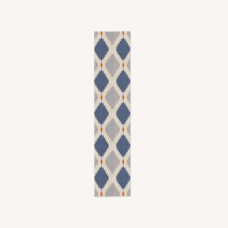 West Elm Phoenix Wool Dhurrie Rug, 2.5'x7' - image-0