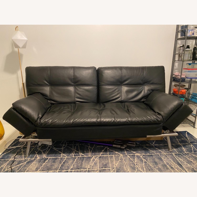 Euro Lounger Leather Futon - image-1