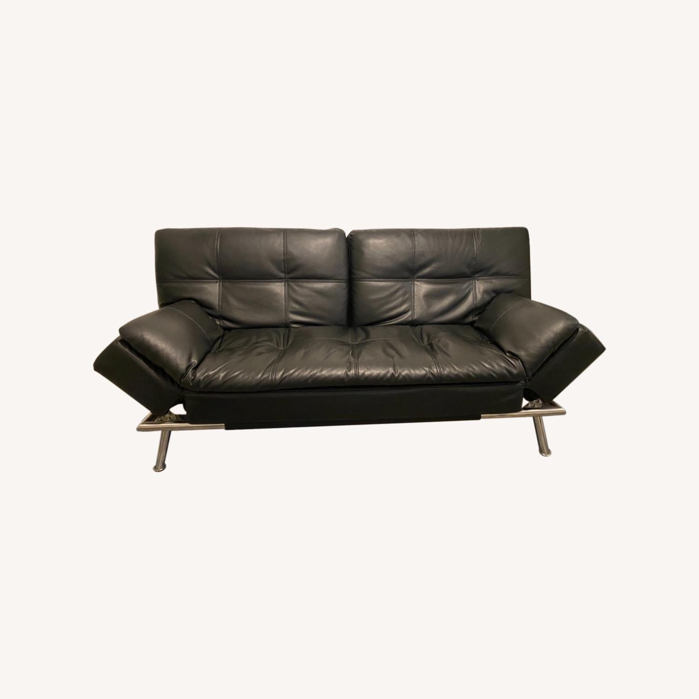 Euro Lounger Leather Futon - image-0