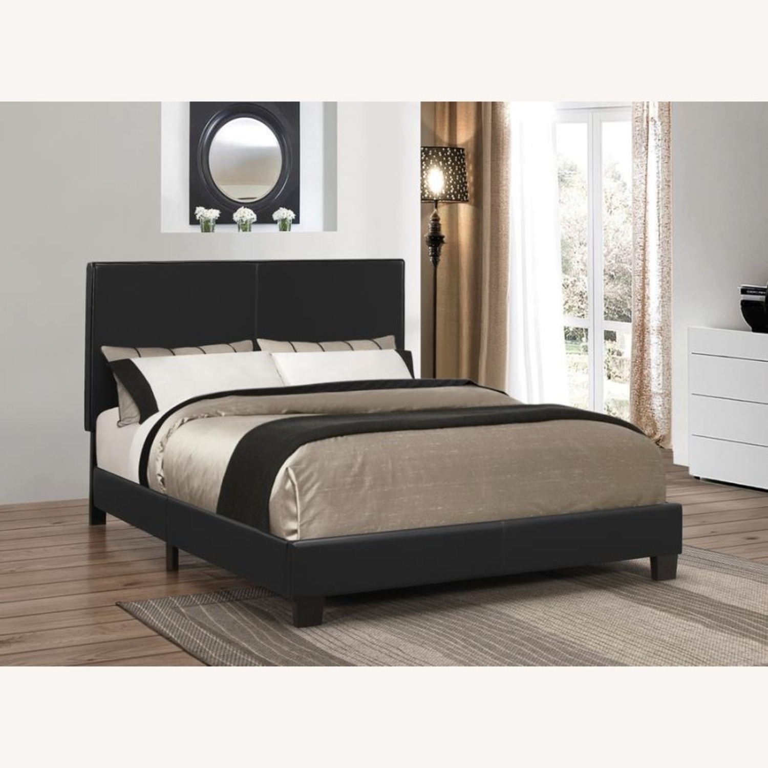 Queen Bed In Black Leatherette Upholstery - image-1