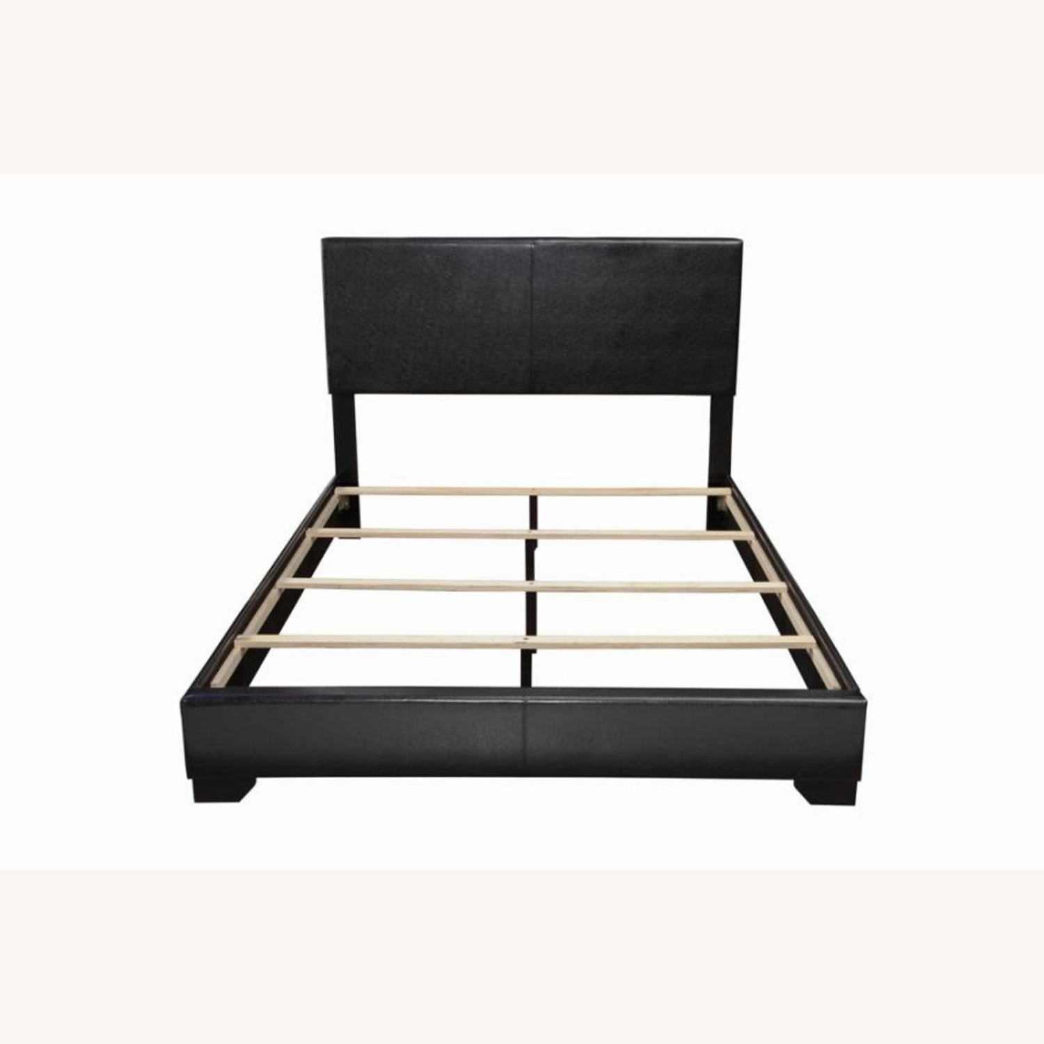 Queen Bed In Black Leatherette W/ Hardwood Legs - image-2