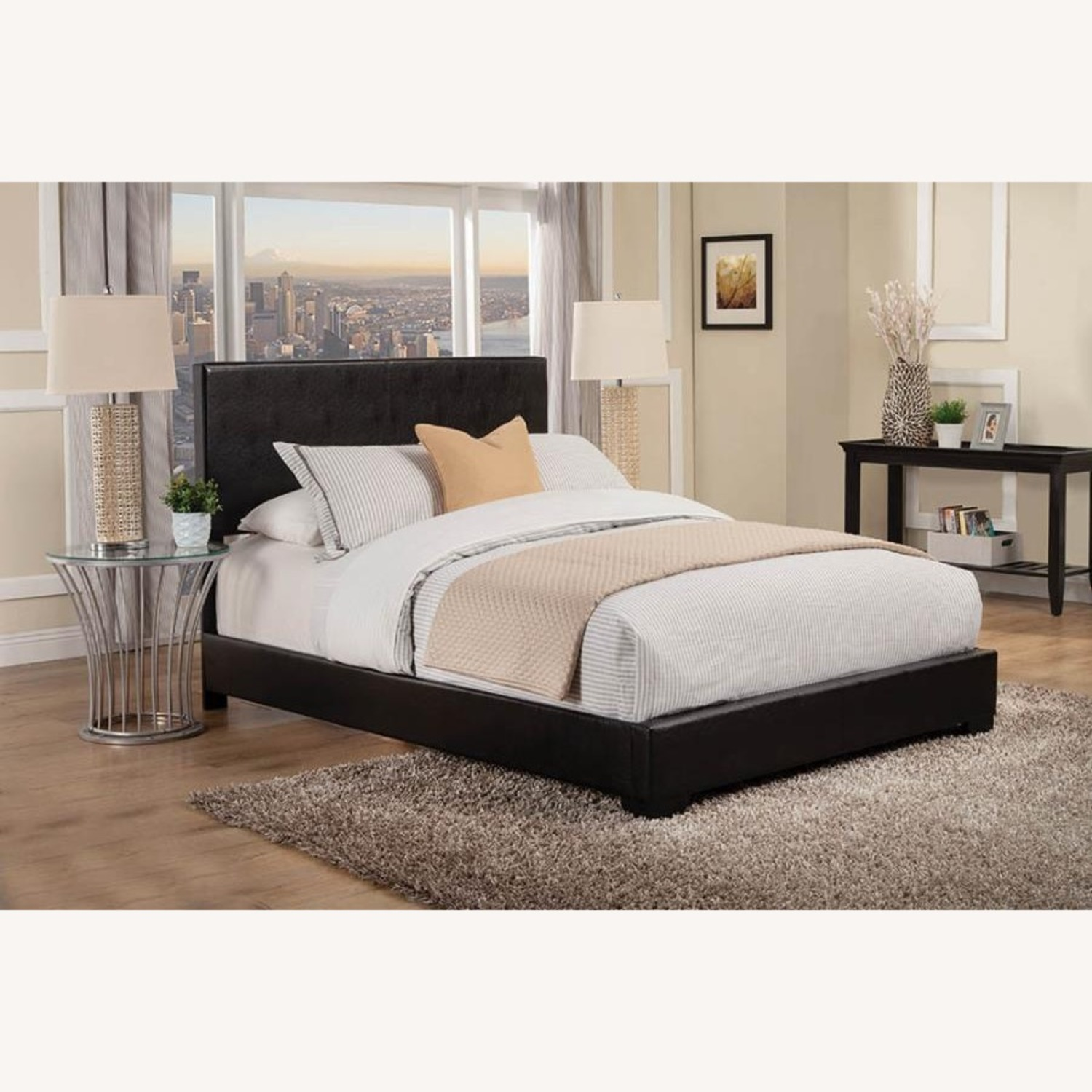Queen Bed In Black Leatherette W/ Hardwood Legs - image-3