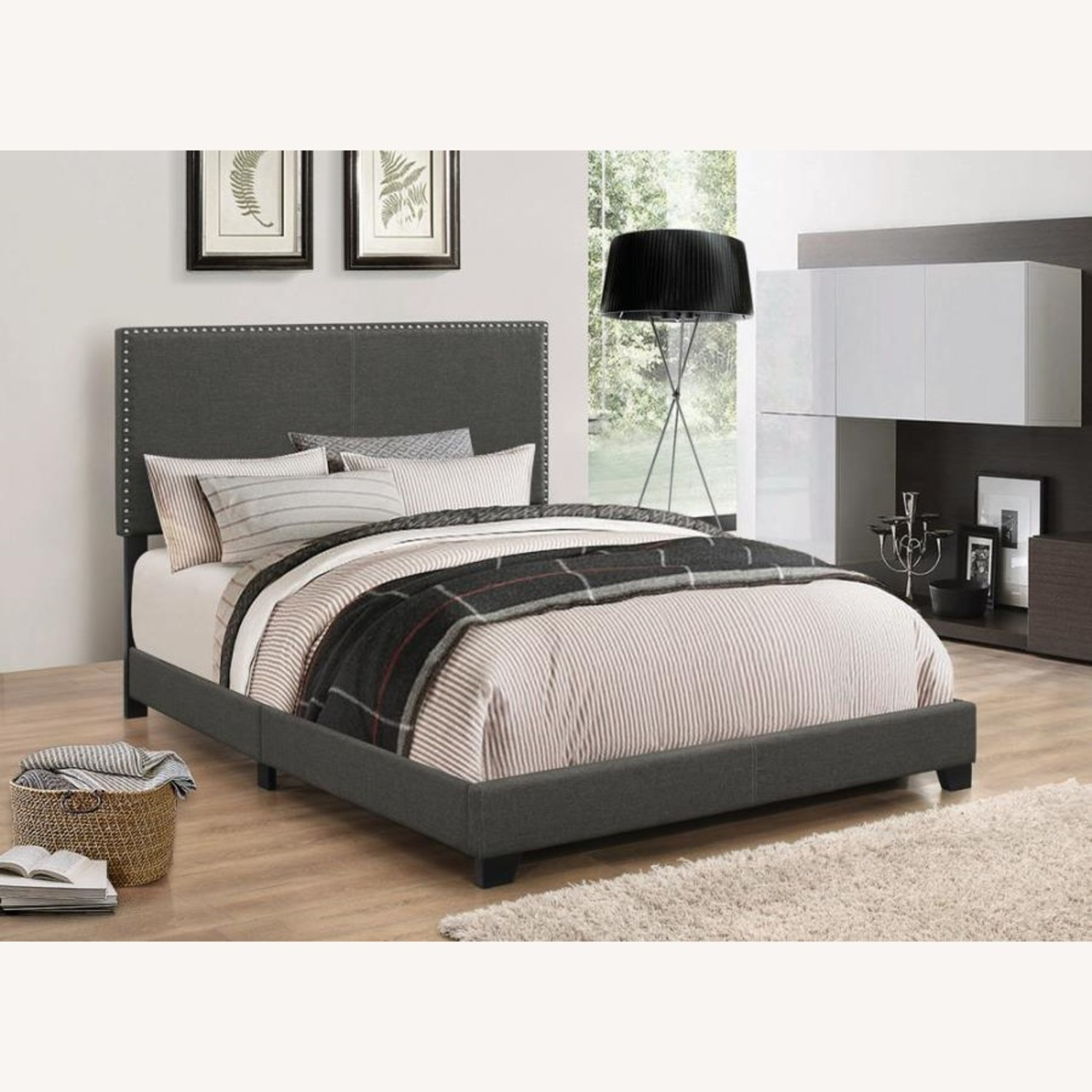 King Bed In Charcoal Fabric Chrome Nailhead Trim - image-1