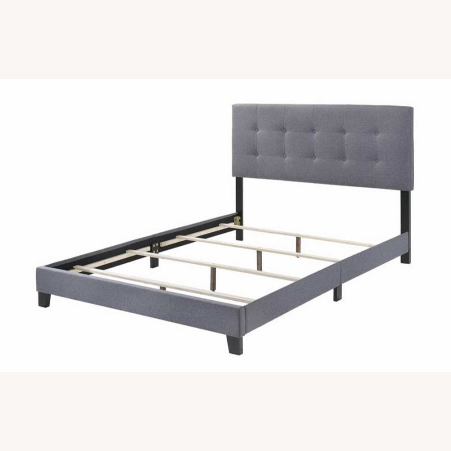 King Bed In Grey Fabric W/ Modern Button Tufting - image-1