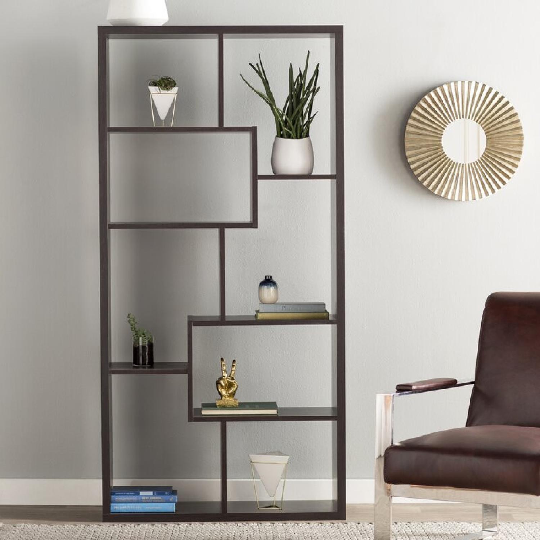 Wayfair Geometric Dark Walnut Bookcase - image-0