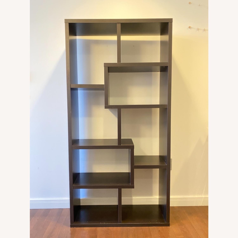 Wayfair Geometric Dark Walnut Bookcase - image-3