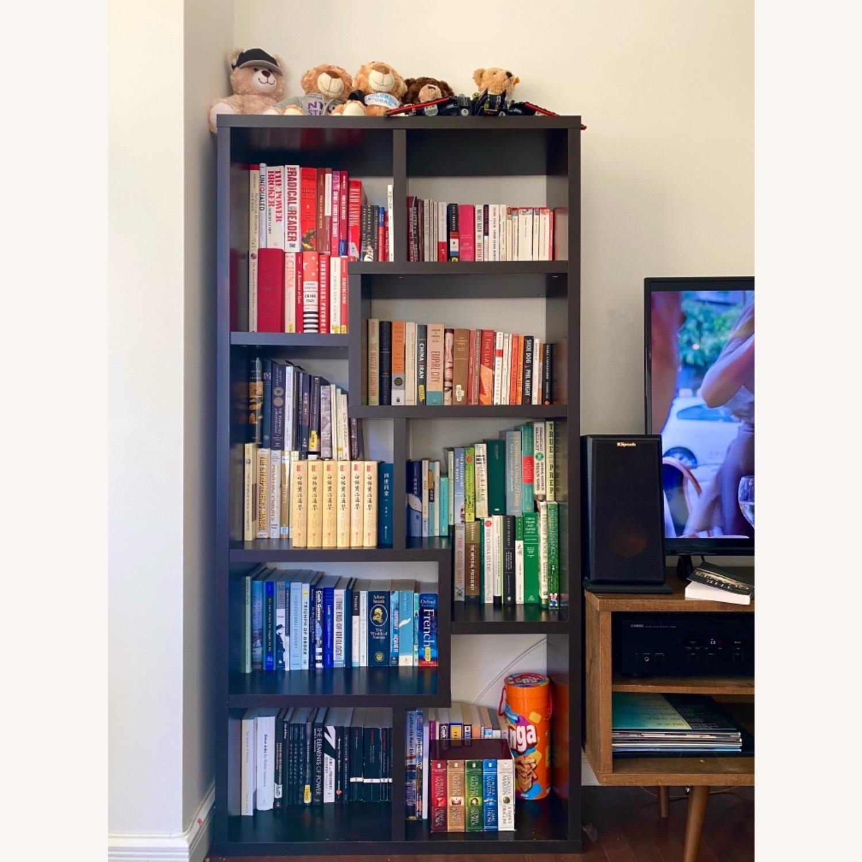 Wayfair Geometric Dark Walnut Bookcase - image-1