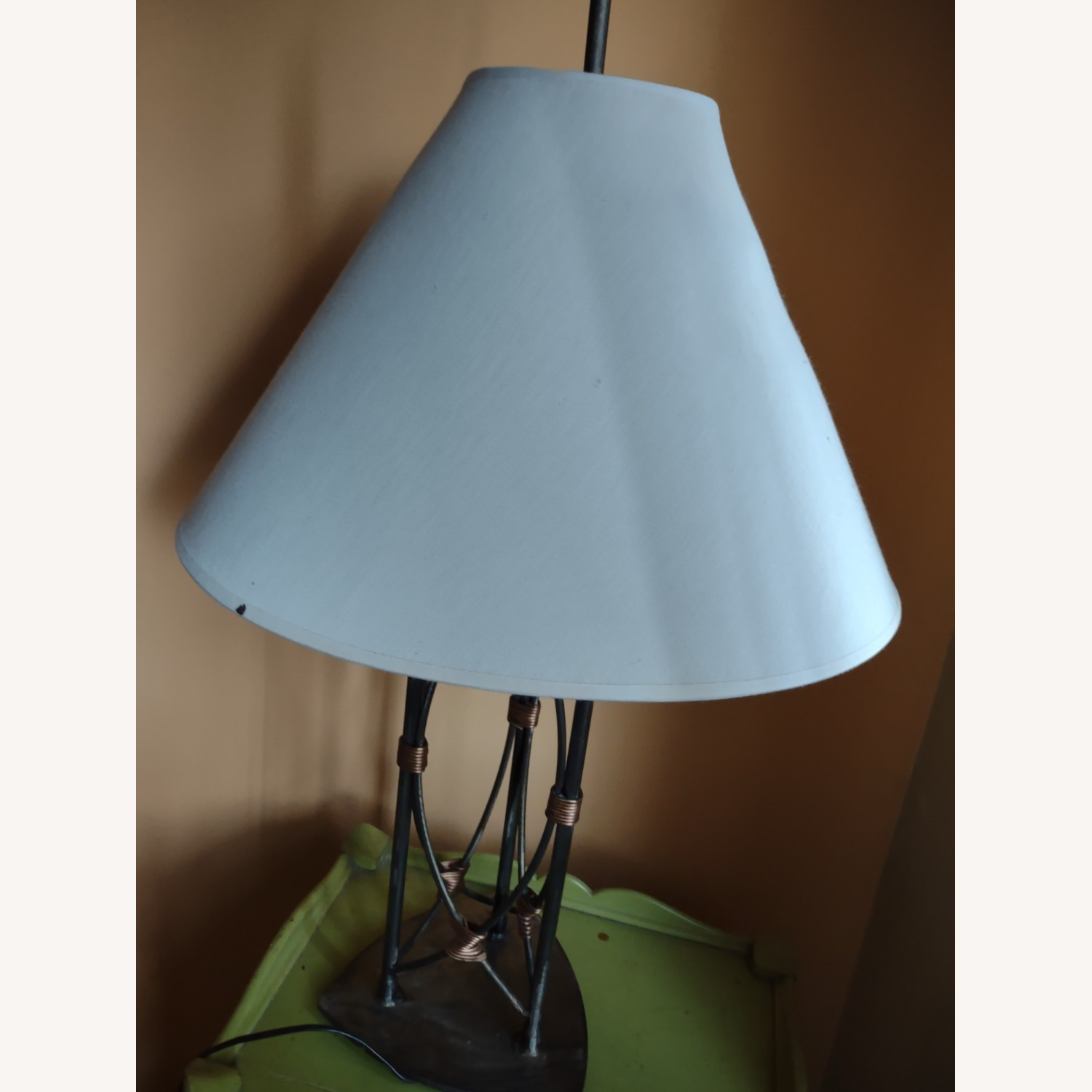 Table Lamp with a Metal Base and Bady - image-1