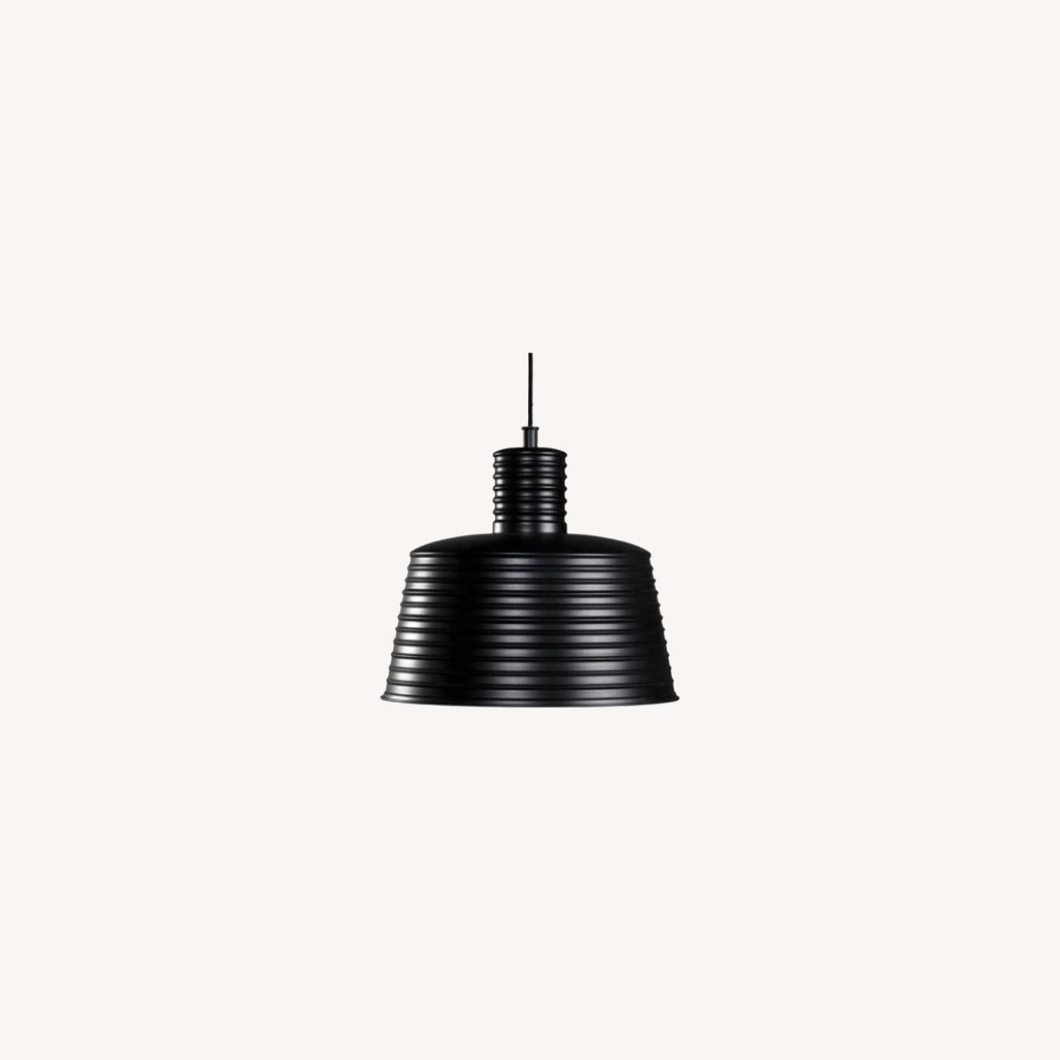 Ethan Allen Black and White Industrial Pendant - image-0