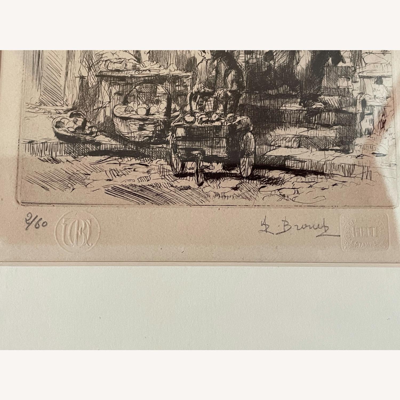 Auguste Brouet La Poissonnerie 1925 Etching - image-1