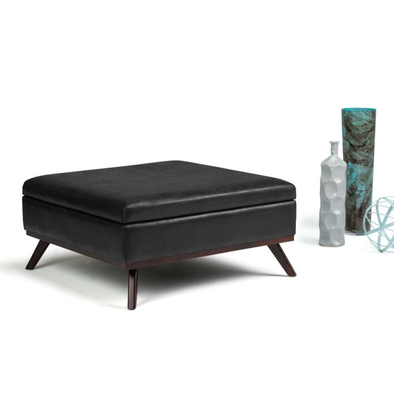 "Wayfair Elle 36"" Square Storage Ottoman (Black) - image-1"