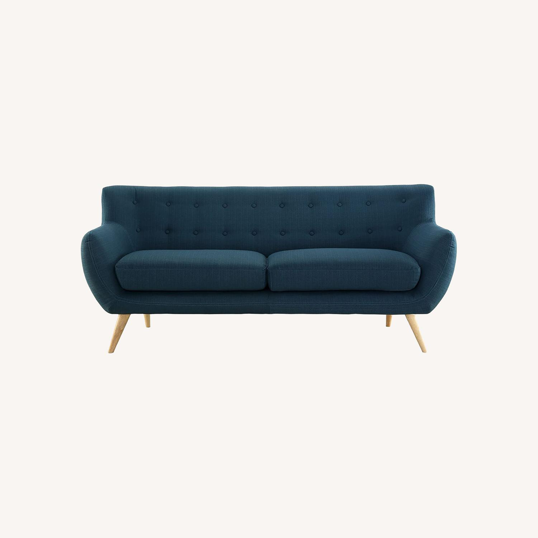 Modern Sofa In Azure Plush Dual Cushion - image-5