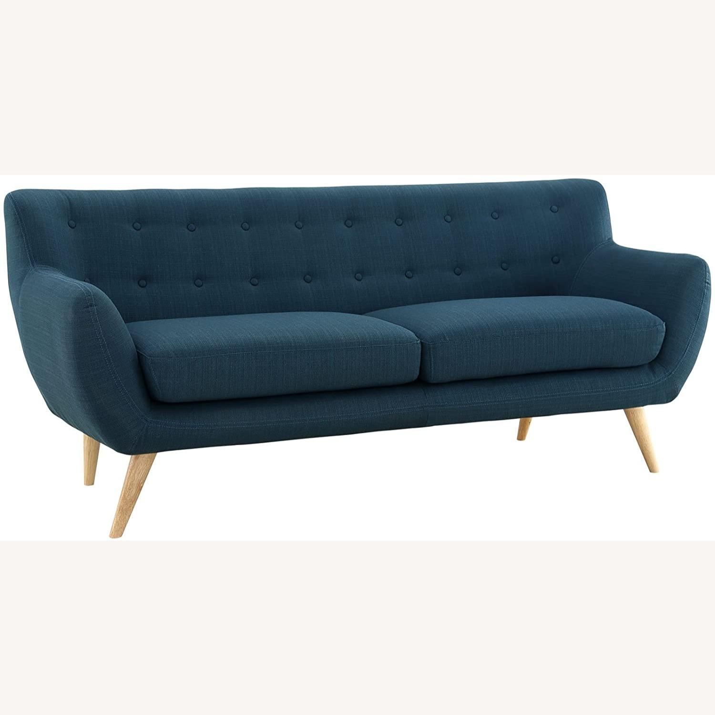 Modern Sofa In Azure Plush Dual Cushion - image-1