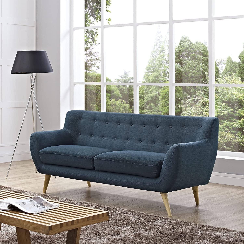 Modern Sofa In Azure Plush Dual Cushion - image-3